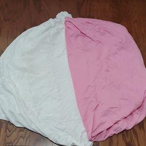 (4/$25) Pink and white baby crib mattress cover